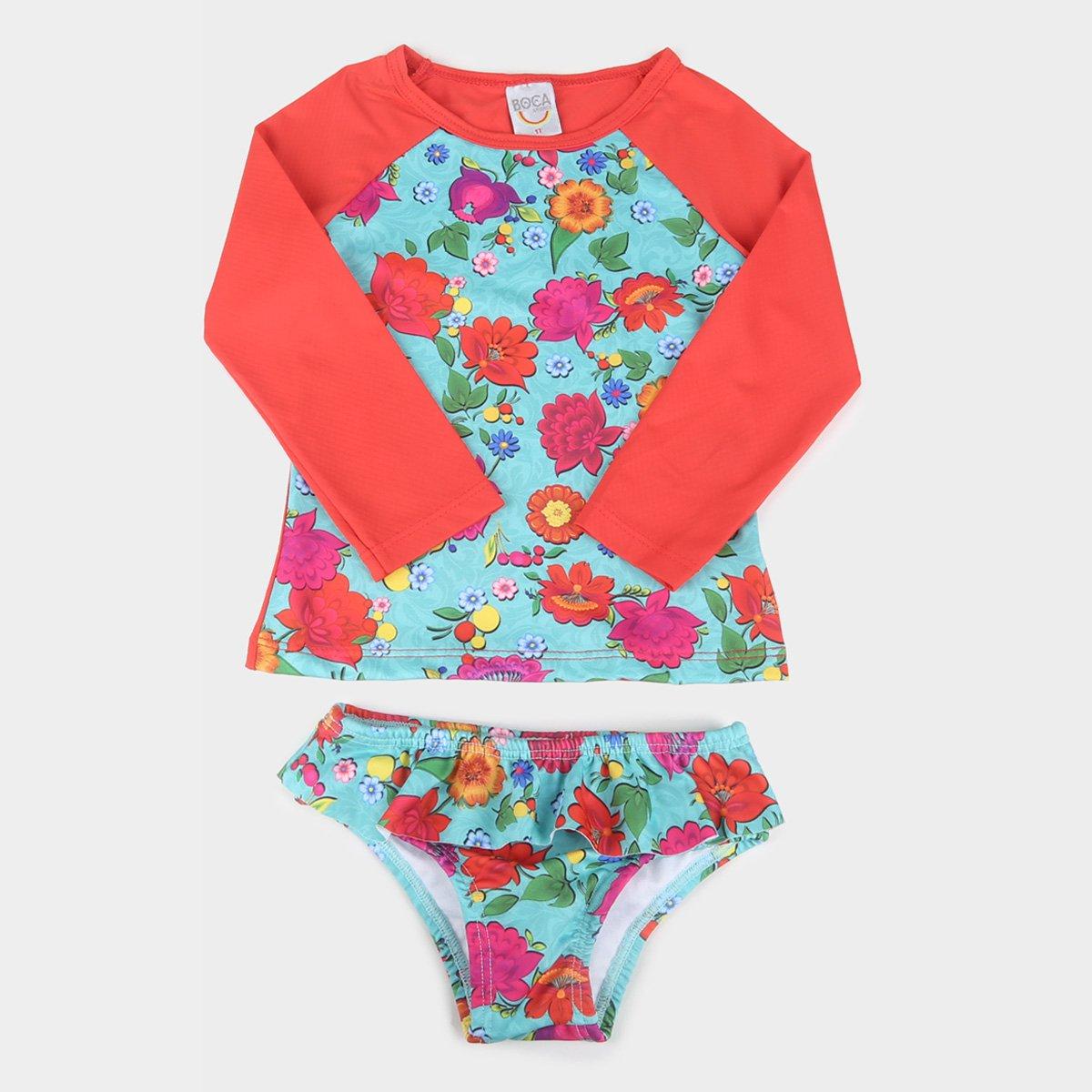 Conjunto Infantil Boca Grande Camiseta Manga Longa E Calcinha Com Proteção UV 50+ Feminino