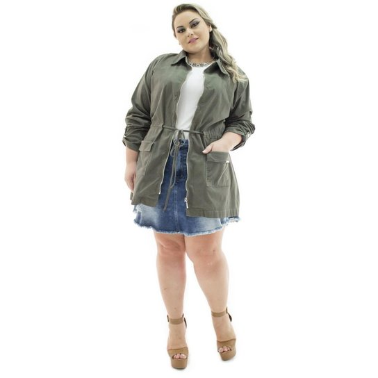 7ba9ed580 Parka Jeans Confidencial Extra Plus Size Veludo Militar Feminina - Verde