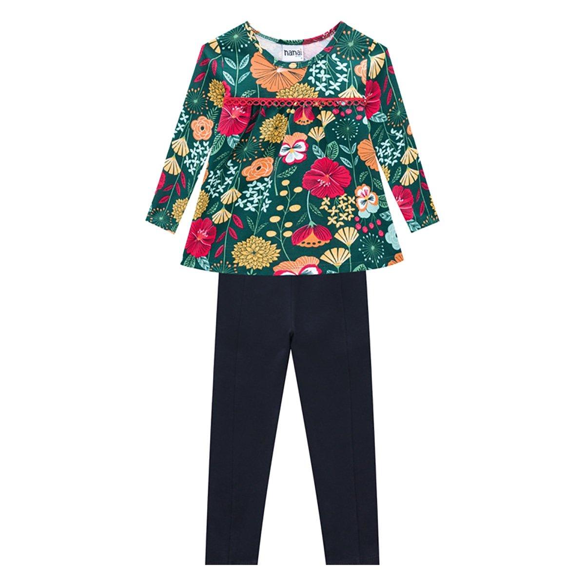 Conjunto Infantil Nanai Blusa Floral Manga Longa + Legging Cotton Feminino