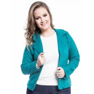 37a52d1362 Blazer Plus Size Bolsos Mirasul Feminino