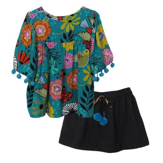 ed2f32183e6e Conjunto Infantil Das Meninas Bata Com Saia Bird Botões Feminino - Verde