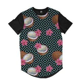 1ce5d21027 Camiseta Longline BSC Padrões e Listras Coco e Flores Sublimada Masculina