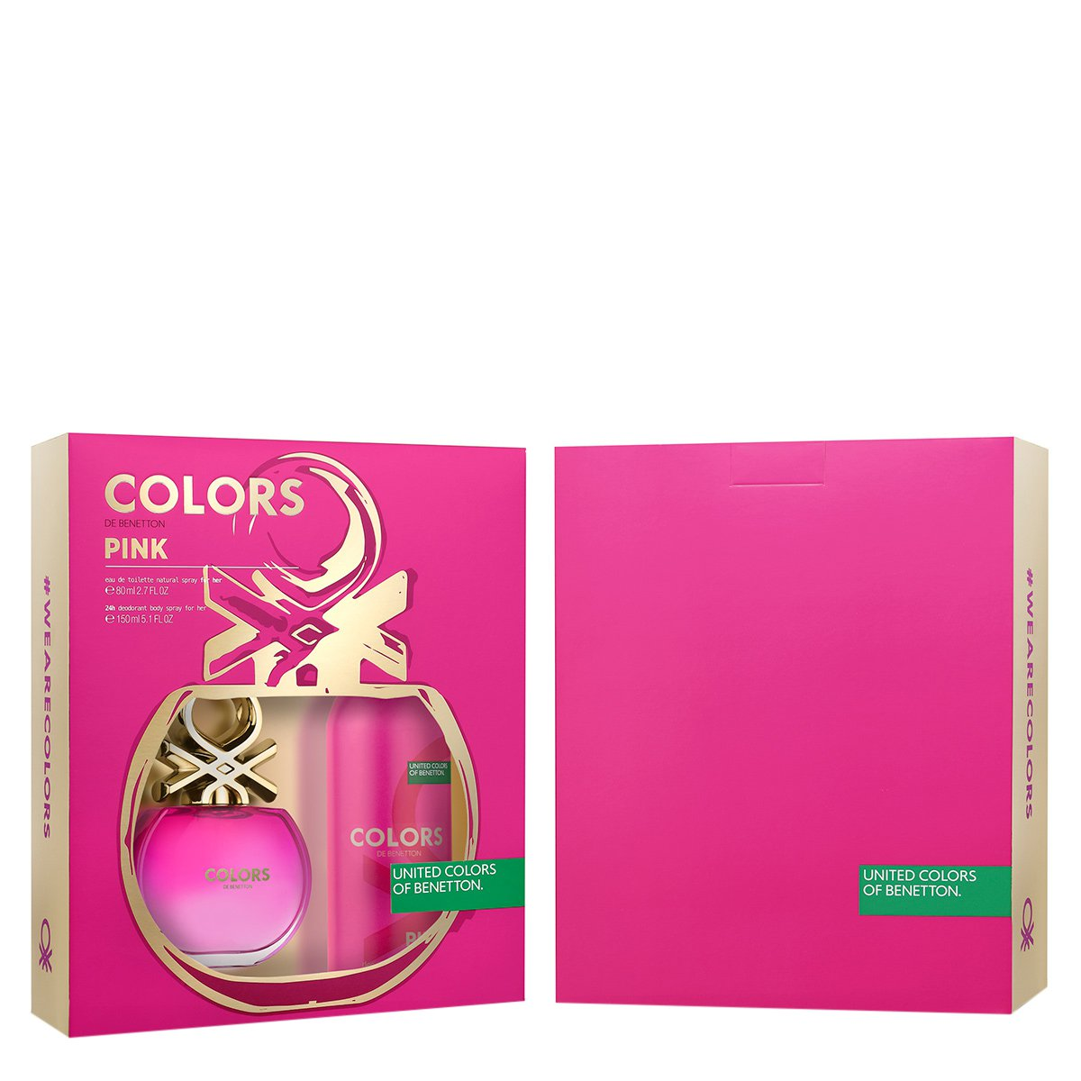 Kit Perfume Feminino Colors Pink Benetton Eau de Toilette 80ml + Desodorante 150 ml
