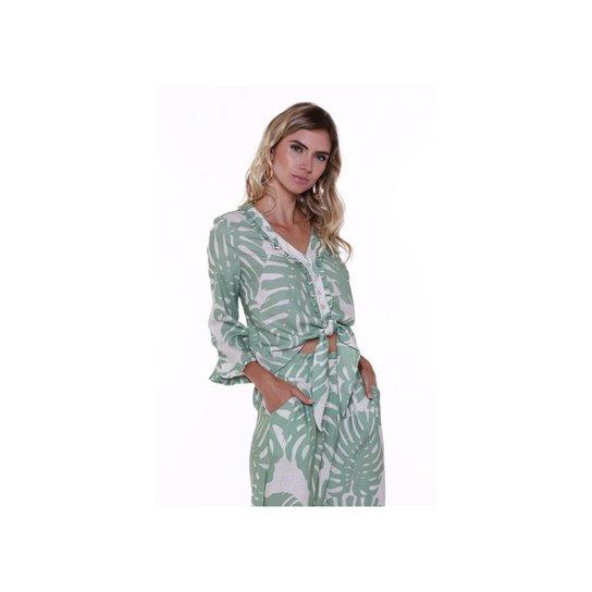 Blusa Studio 21 Fashion Linho Folhagem - Compre Agora   Zattini 183eb1ddef