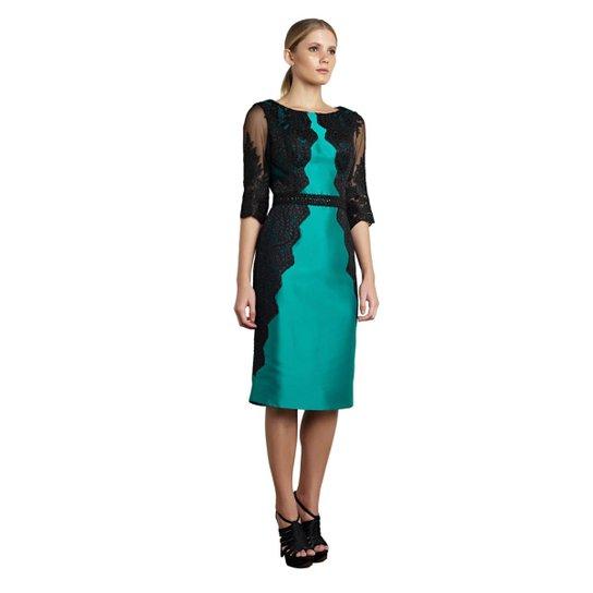 6e2513450 Vestido Midi Izadora Lima Brand em Zibeline com Renda aplicada Feminino -  Verde