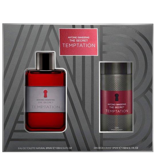 b442599c12 Kit Perfume The Secret Temptation Masculino Antonio Banderas EDT 100ml +  Desodorante 150ml - Incolor