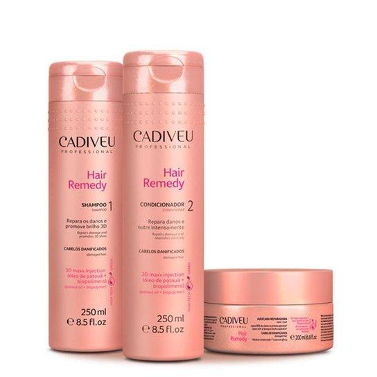f767baeb8 Kit Cadiveu Hair Remedy Shampoo 250ml + Condicionador 250ml + Máscara 200ml  - Incolor