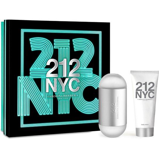 63d87dd68 Carolina Herrera Kit Perfume Feminino 212 EDT 100ml + Loção Hidratante 100ml  - Incolor