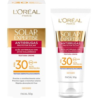ff73feaa9 Protetor Facial L Oréal Paris Solar Expertise Antirrugas FPS 30 50g