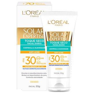 Protetor Facial L Oreal Paris Solar Expertise Toque Seco Antiacne FPS 30 50g b1beca1663