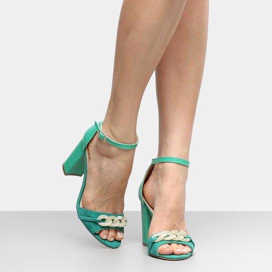19e53c39e3 Sandália Couro Shoestock Salto Grosso Corrente Feminina - Verde ...