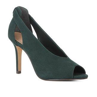 b1bfef4a9 Peep Toe Couro Shoestock Nobuck Salto Fino