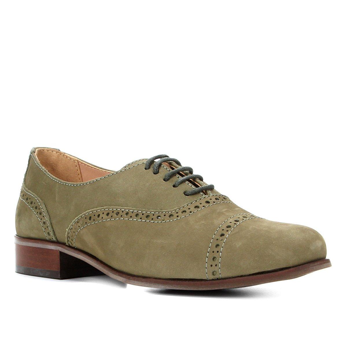 Oxford Couro Shoestock Nobuck Brogues Feminino