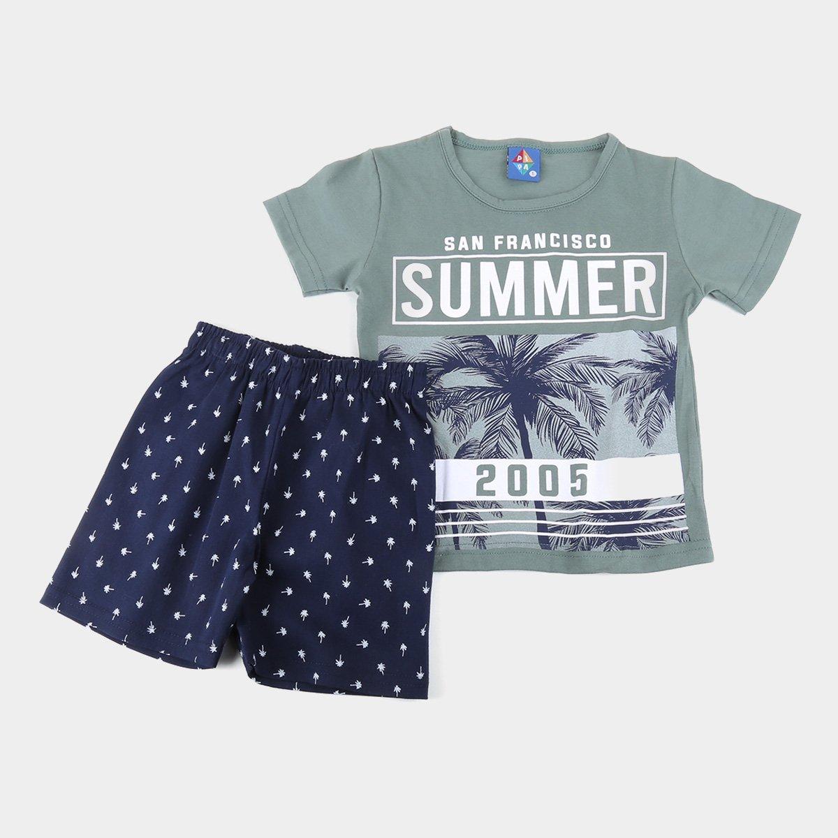 Conjunto Infantil Pipa Camiseta Summer Coqueiro e Bermuda Moletinho Masculino