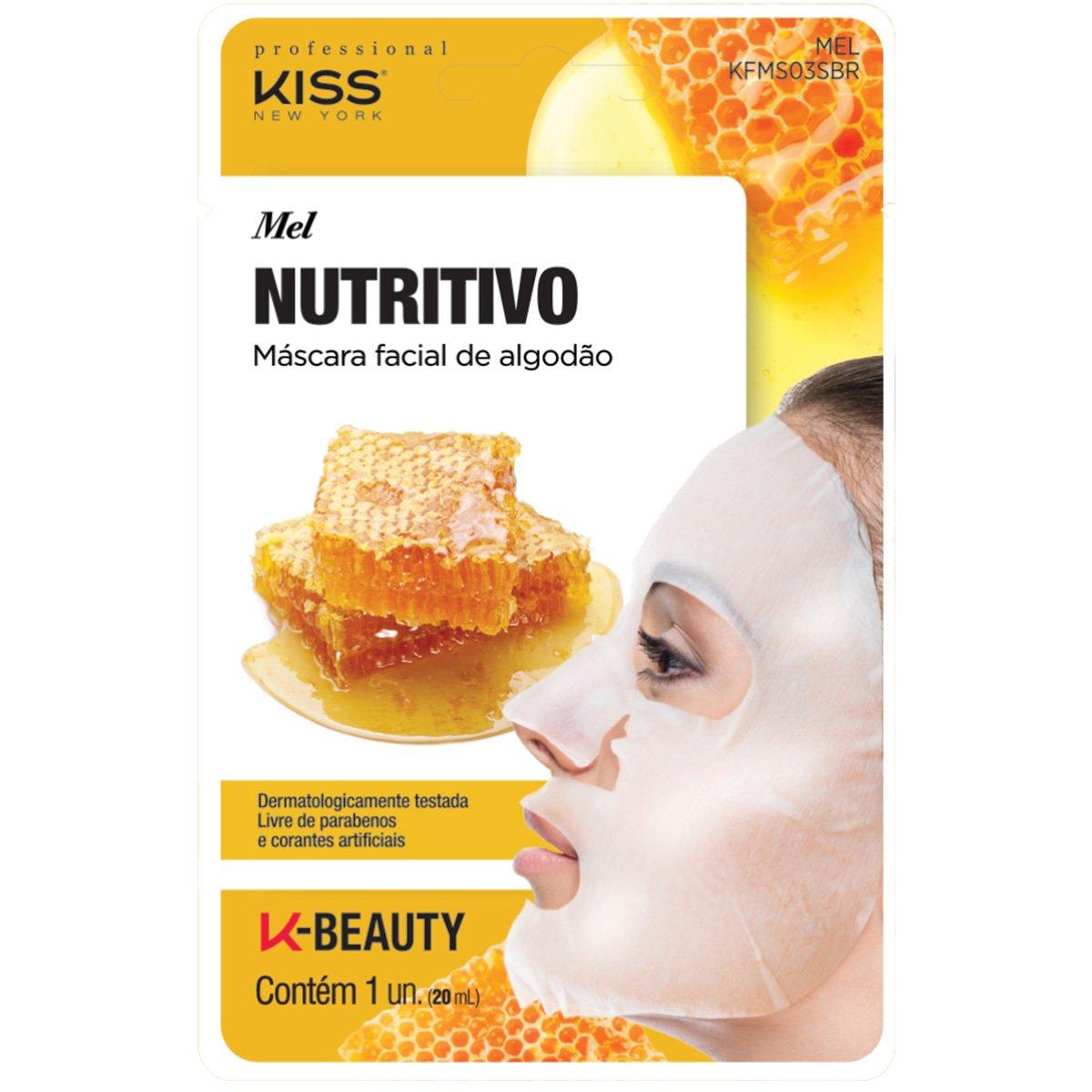 Máscara Facial de AlgodãoMel Kiss New York