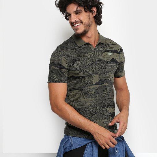 e9ce9acf99458 Camisa Polo Lacoste Live Jersey Full Print Regular Fit Masculina -  Verde+Preto