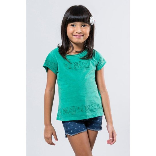 Camiseta Infantil Barrado Carimbo Reserva Mini Feminina - Verde ... 987a205542