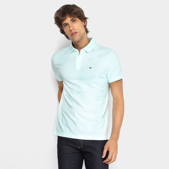 736d5d1915fd1 Camisa Polo Tommy Hilfiger Básica Masculina - Verde água - Compre ...