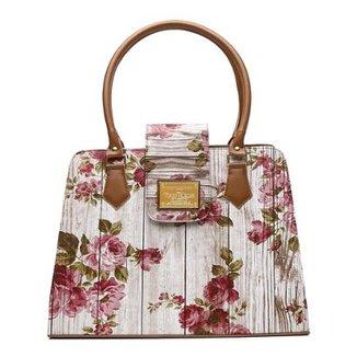 a6213be75 Bolsa Victor Valencia Ombro Estampada Floral Feminina