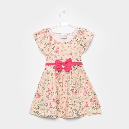29fde9a0f0443 Vestido Infantil Fakini Curto Evasê Estampa Floral Detalhe Laço - Creme