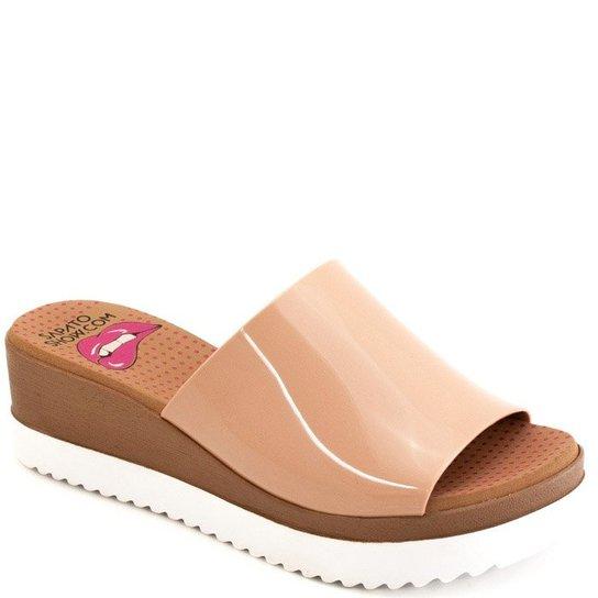 efcd4713b9 Tamanco Anabela Plástico Paçoca Sapato Show K3030400238 - Creme ...