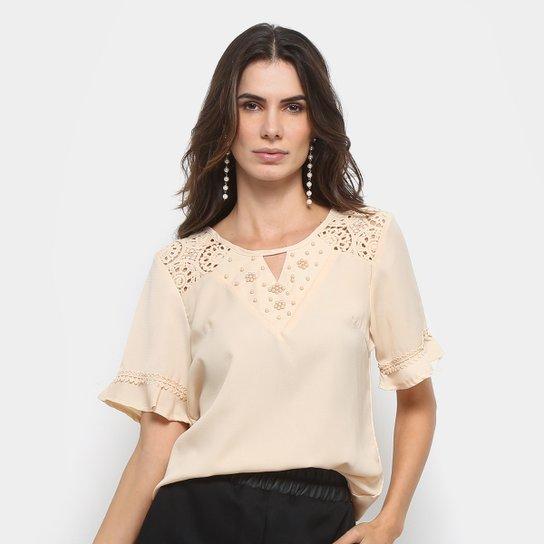 c54ddbe4cf Blusa MS Fashion Renda Aplicação Feminina - Creme - Compre Agora ...