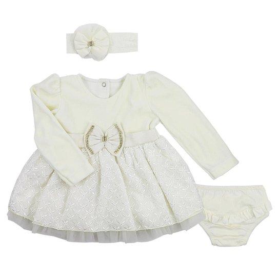 Vestido de Bebê Paraíso Moda Bebê Plush Para Bebê com Babados de Renda e  Faixa de 6dcb365fc5c