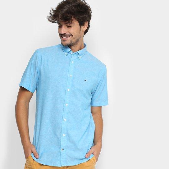 7830e7a9f2 Camisa Manga Curta Tommy Hilfiger Fio A Fio Regular Fit Masculina - Azul  Claro