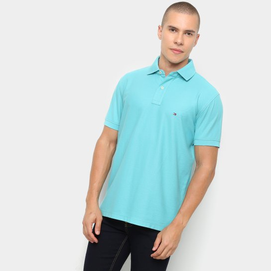 Camisa Polo Tommy Hilfiger Detalhe Bordado Regular Masculina - Azul Claro d901c46ab74ce