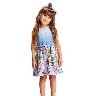 Vestido Infantil Momi Jeans Flamingo 4d3e5ae1b1d