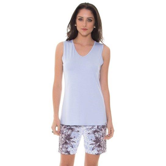 abe58e3e1fa82e Pijama Recco Regata Recco Com Shorts Meia Coxa de Viscose e Microfibra Amni  - Azul Claro