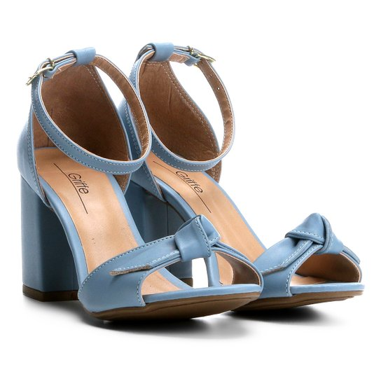 1b0c53ed4 Sandália Griffe com Laço Salto Grosso Feminina - Azul Claro | Zattini