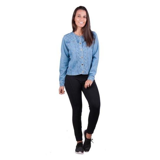 25bb16e527 Jaqueta Banna Hanna Detalhe Pesponto Jeans - Azul Claro