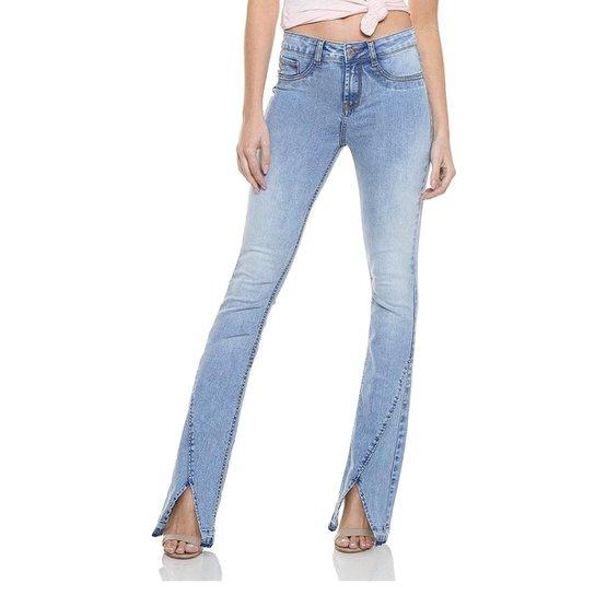 799e0ee2f1a6a Calça Folini Têxtil Jeans Denim Zero Boot Cut Média Fenda Frontal - Azul  Claro