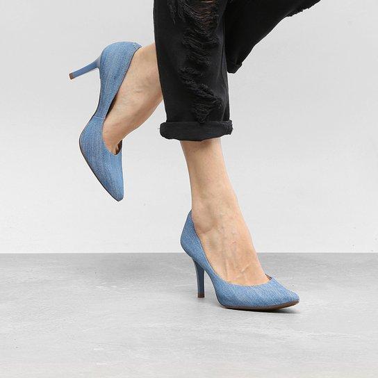 b8fa83018a Scarpin Via Uno Salto Alto Jeans Feminino - Azul Claro