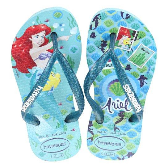d621c22ca Sandália Infantil Havaianas Slim Disney Princesas Feminina - Azul Claro