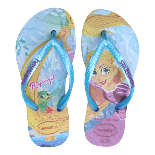 separation shoes 8aa6d 2b62b Chinelo Infantil Havaianas Estampa Rapunzel Slim Tangled Feminino - Azul  Claro