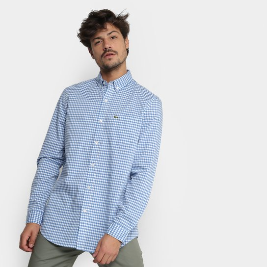 ... Camisa Xadrez Lacoste Vichy Masculina - Azul Claro - Compre Agora . b158ce34e73a0