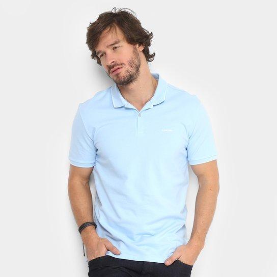 2acd5c29b Camisa Polo Calvin Klein Slim Masculina - Azul Claro