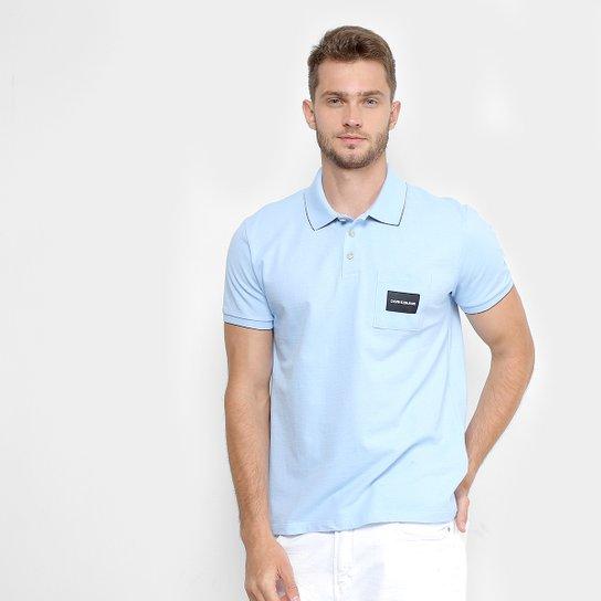 1ed5c631a Camisa Polo Calvin Klein Manca Curta Bolso Masculina - Azul Claro ...