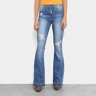 3c6f94fac Calças Jeans Flare Calvin Klein Five Pockets Mid Rise Cintura Média Feminina