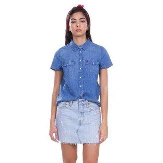 789a6fced6 Camisa Jeans Levis Short Sleeve Larissa Western Lavagem Média