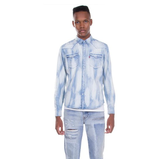 Camisa Jeans Levis Barstow Western Clara Masculina - Azul Claro ... 6a979fa0aa3