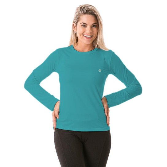 e3c6320d2644b Camiseta com Proteção Solar Manga Longa Extreme UV Ice - Azul Claro ...