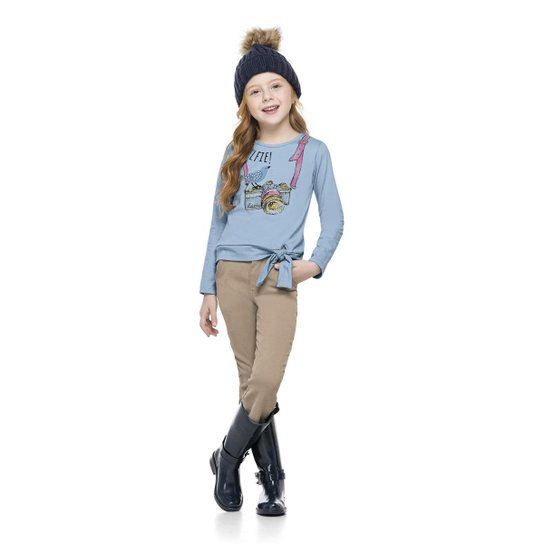 Blusa Manga Longa Infantil Cotton Quimby Feminina - Azul Claro ... 4b11cb63470