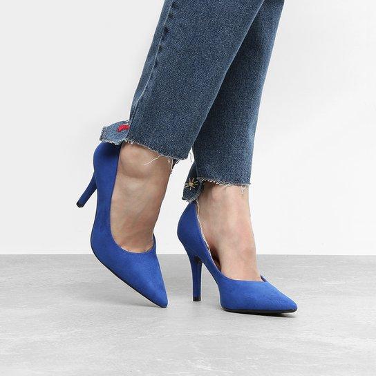 Scarpin Vizzano Salto Alto Bico Fino - Azul Royal - Compre Agora ... 3ec84080597
