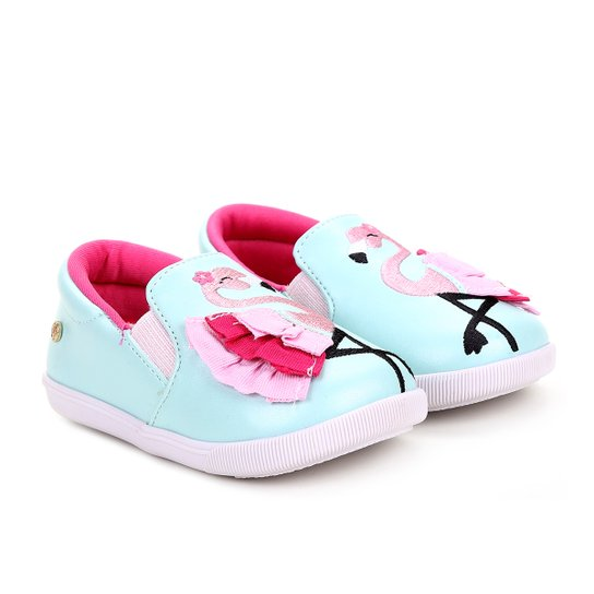 caeb9819a76ad Slip On Infantil Ortopé Casual Baby Flamingo Menina - Azul Claro