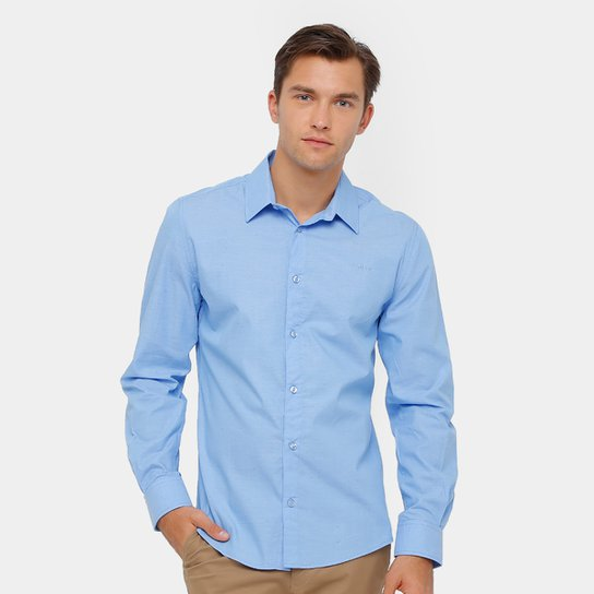 5b02e9cfa1 Camisa Social Colcci Tricoline Mesclado Masculina - Azul Claro