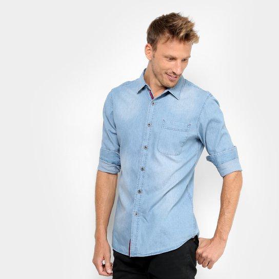 560e2672444dec Camisa Jeans Broken Rules Estonada Bolso Masculina - Azul Claro