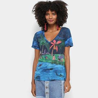 Camiseta Cantão Estampa Tropical Lagoa Azul Decote V Feminina d1fd34e87db
